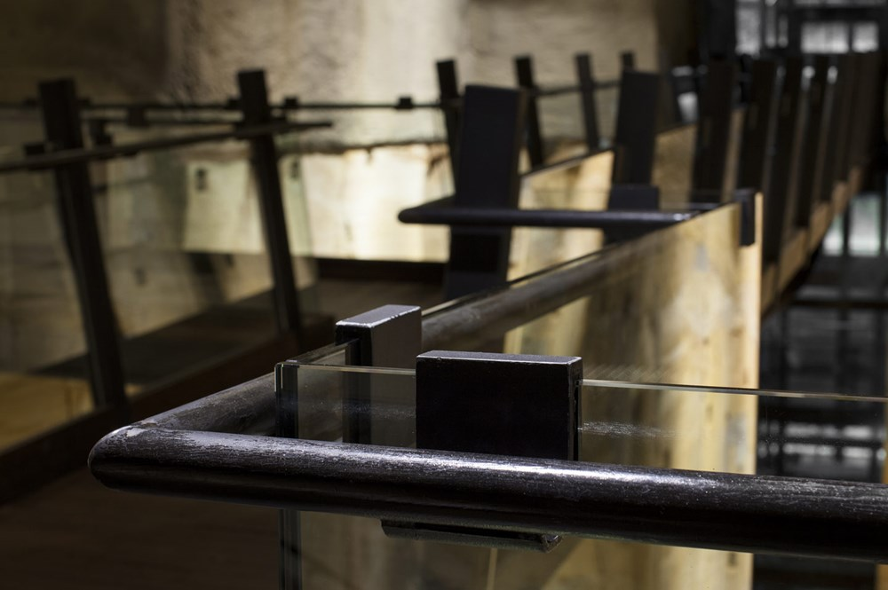 Glass balustrades inside museum